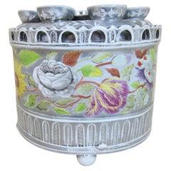 Antique W*** Pottery Silver Lustre & Handpainted Floral Bough Pot & Lid