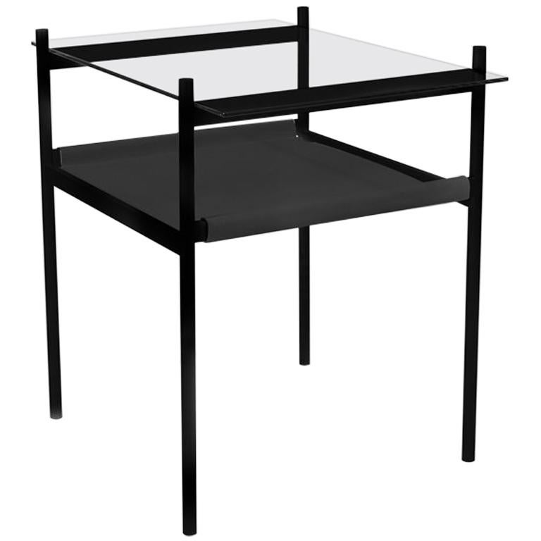 Duotone Rectangular Side Table, Black Frame / Clear Glass / Black Leather For Sale