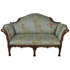 Continental Hand Carved Loveseat with Scalamandre Fabric