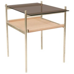 Duotone Rectangular Side Table, Brass Frame / Bronze Glass / Natural Leather