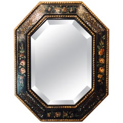 Antique Paint Decorated with Mother-of-Pearl Accented Octagonal Bevel Mirror