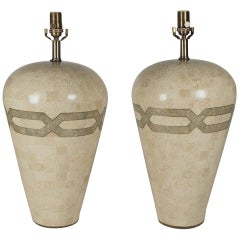Pair of Tessellated Stone Lamps in the Manner of Karl Springer