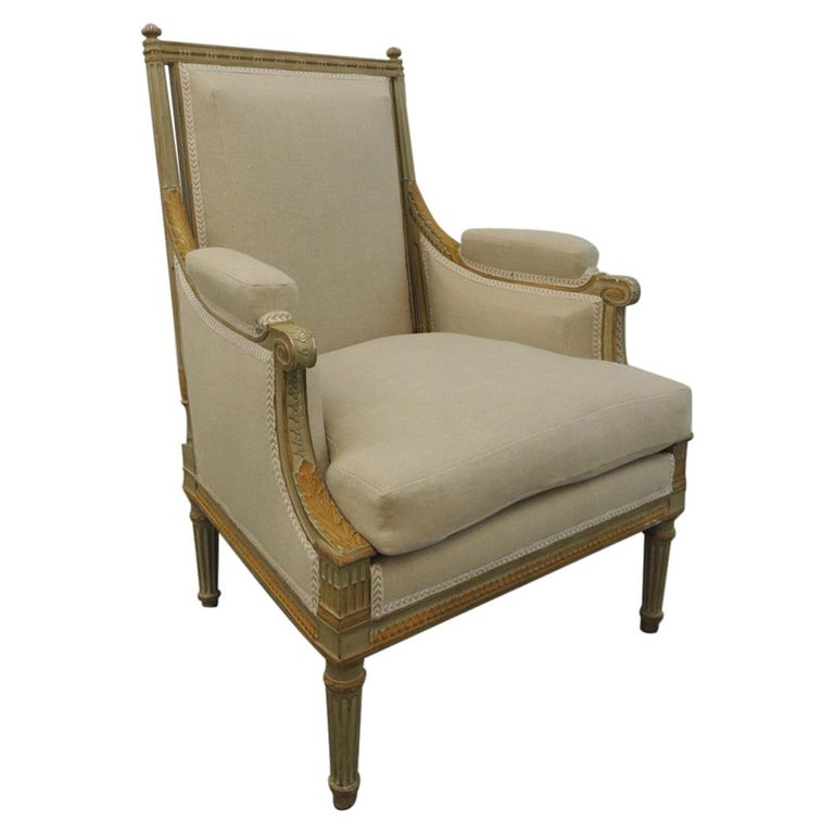 19th C. French Neoclassical Carved Arm Chair Upholstered in Natural Linen