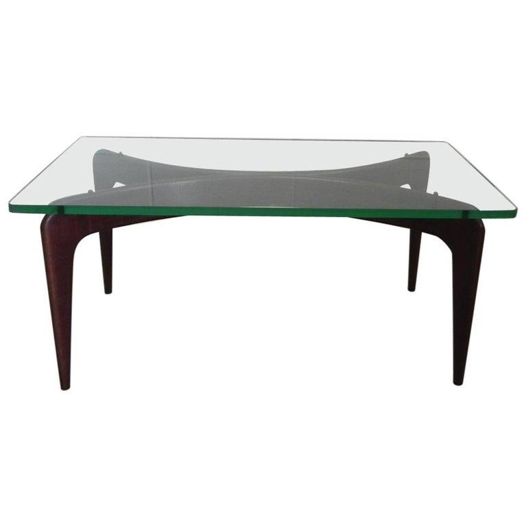 Rare Gio Ponti Mahogany Coffee Table by Fontana Arte
