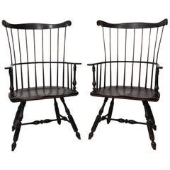 Pair of 19th Century Comb-Back Windsor Armchairs