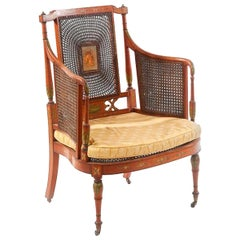 19th Century French Bergere in Cane with Bronze Decoration