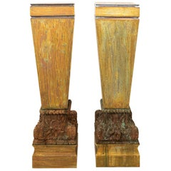Pair of Large Copper Pedestals with Wooden Carved Bases