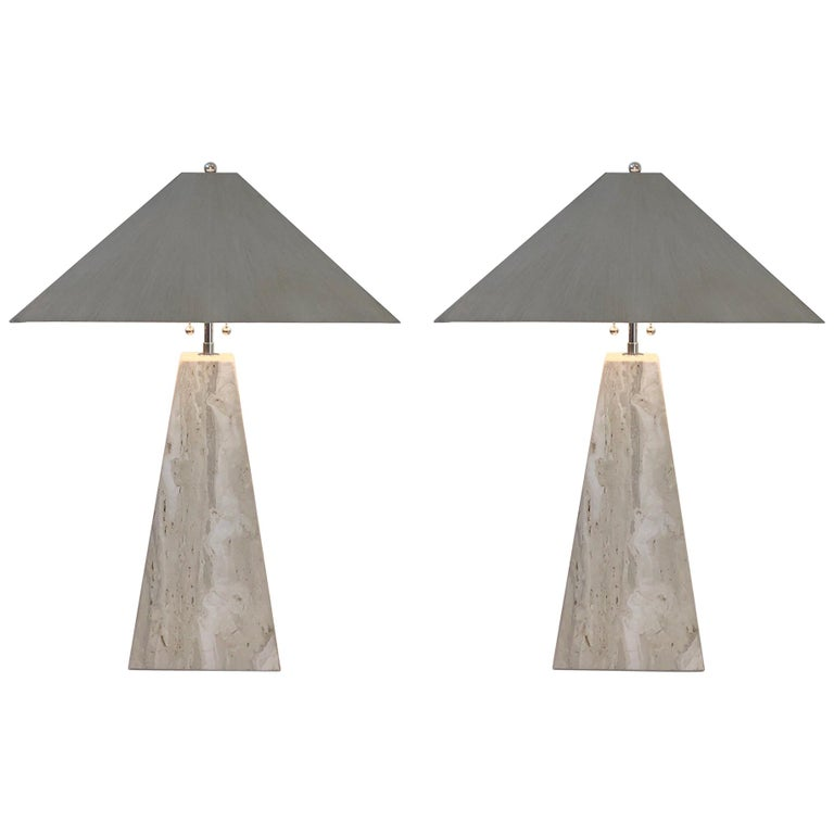 Pair of Italian Travertine and Polish Nickel Obelisk Shape Table Lamps  For Sale