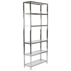 Midcentury Chrome and Glass Etagere