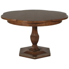 Early Mastercaft Burled Elm Clover Leaf Dining Room Table with Three Leaves