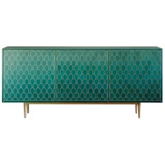 Bethan Gray Nizwa Maxi Three Door Cabinet in Jade and Brass