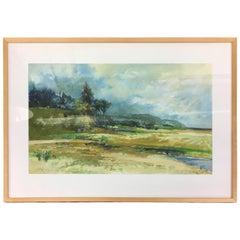 Paul Zimmerman Midcentury Original Abstract Signed Original Gauche Painting