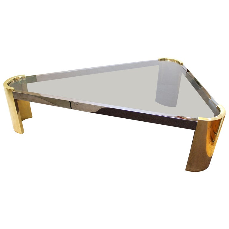 Jay Spectre Modernist Triangular Cocktail Table in Metal and Glass