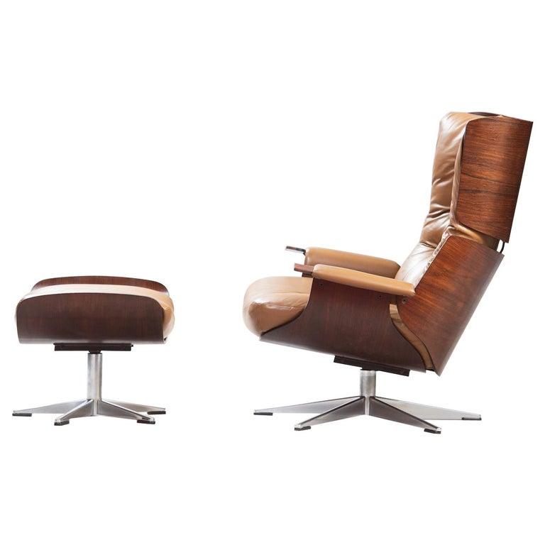 Mid-Century Modern Swivel Lounge Chair with Ottoman