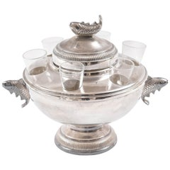 Vintage Caviar & Vodka Server, Silver Plate and Glass with Figural Fish Handles