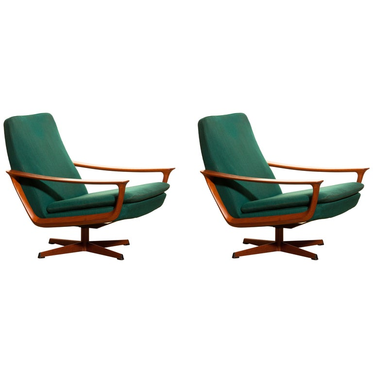 Teak Set of Two Swivel Chairs by Johannes Andersson for Trensums Denmark, 1960 For Sale