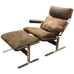 Richard Hersberger for Saporiti Italian Modern Lounge Chair with Ottoman