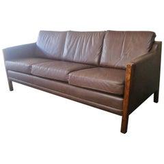 1970s Danish Midcentury Brown Leather Three-Seat Sofa