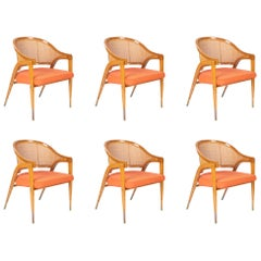 Set of Six Edward Wormley Model 5480 Cane and Ash Chairs Made by Dunbar