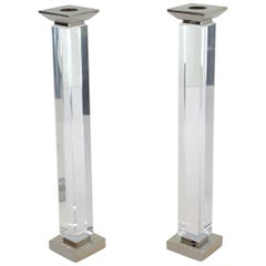Pair of Lucite and Polish Nickel Candlestick by Charles Hollis Jones