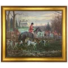Original Signed Edward Tomasiewicz Oil Painting Fox Hunt