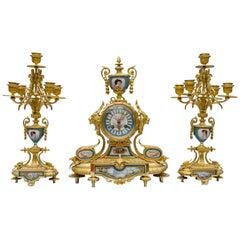 19th Century Sevres Porcelain and Gild Bronze Mantel Garniture, Paris