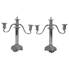 Pair of Antique Tiffany Repousse Sterling Silver Three-Light Candelabra