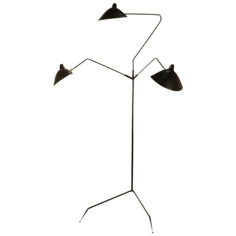 Serge Mouille Brass and Black Aluminum Mid-Century Modern Floor Lamp Three-Arms