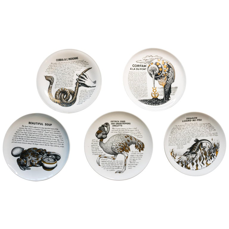 Five Piero Fornasetti Fleming Joffe Porcelain Recipe Plate-Vero-Pig Piccadilly