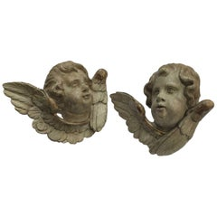 Pair of Italian Cherub Head Sculptures 18th Century Carved Winged Putti Heads