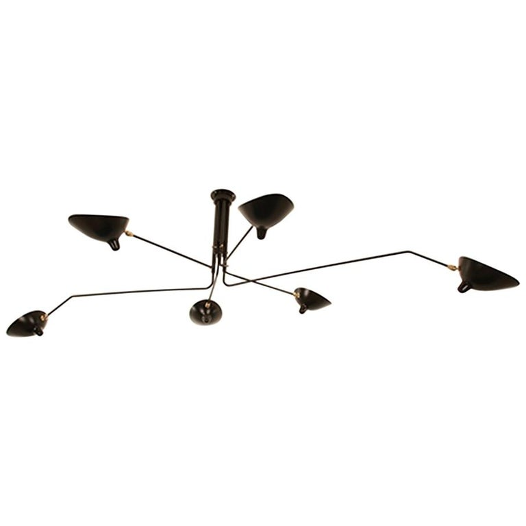 Serge Mouille Brass and Aluminium Mid-Century Modern Six Arms Ceiling Lamp For Sale