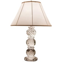 Modern Ralph Lauren Clear Crystal Faceted Table Lamp with White Silk Lampshade
