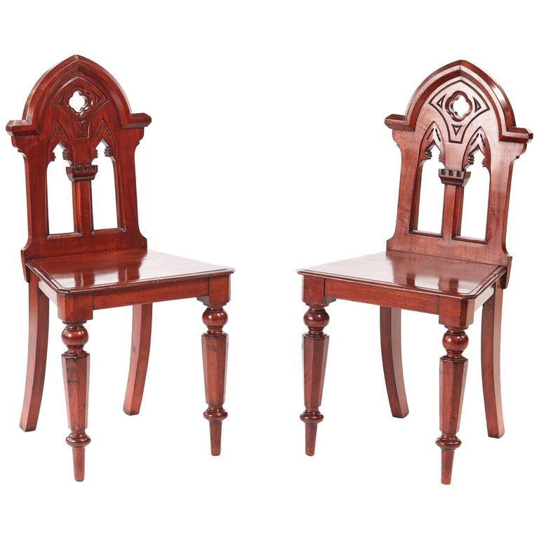 Pair of Antique Victorian Mahogany Gothic Hall Chairs