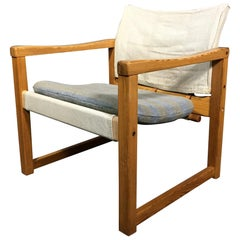 """Karin Mobring """"Diana"""" Safari Chair, Pine and Canvas, Sweden, 1970s"""