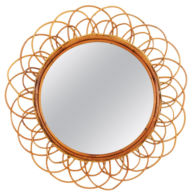 French Riviera Double Layered Rattan Flower Burst Sunburst Mirror, France, 1960s For Sale