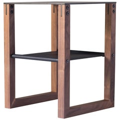 Sling - Modern Aluminum, Leather and Walnut Side Table