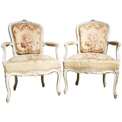 Pair of French Louis XV Style Fauteuils with Aubusson Tapestry