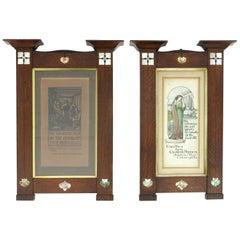 Herbert Davis Richter, Pair of Arts & Crafts Oak Pictures in the Original Frames