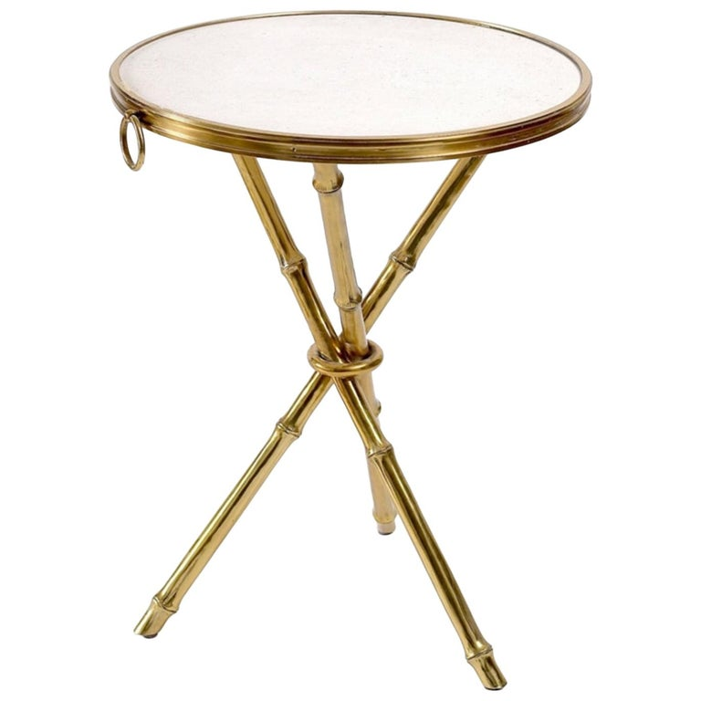 Modern Ralph Lauren Marble Top Bamboo Form Br Legs Side Table For