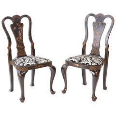 Pair of Chinoiserie Lacquered Decorated Side / Desk Chairs