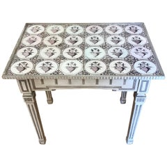 Danish Painted Neoclassical Tile Top Table