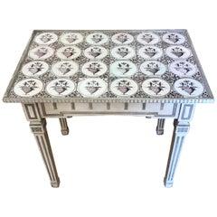 Danish Painted Neoclassical Tile Top Table