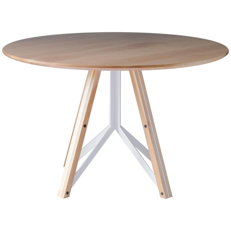 Trestle, Modern Birch and Powder Coated Steel Round Dining Table