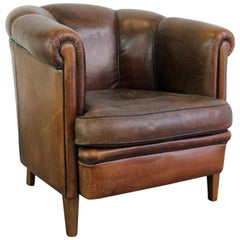Scalloped Back Leather Club Chair, circa 1940s