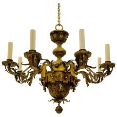 Large Gilt Brass Baroque Style Eight-Arm Chandelier