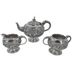 Antique Indian Silver Beast and Man Tea Set
