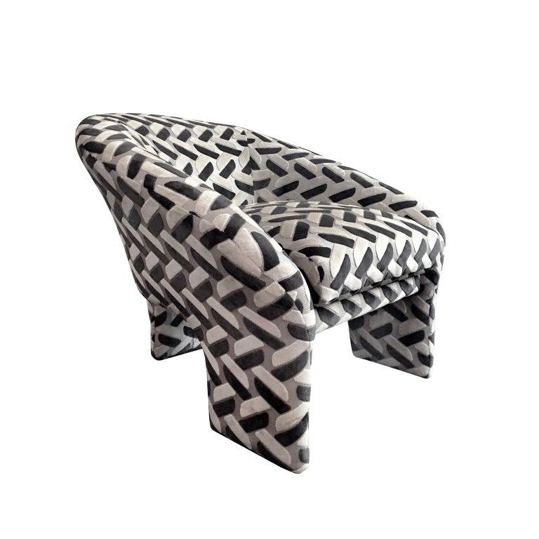 1970s Tripod Armchair in Raised Contrast Velvet For Sale