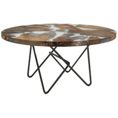 Riva 1920 Earth Dining Table in Kauri Wood with Iron Base