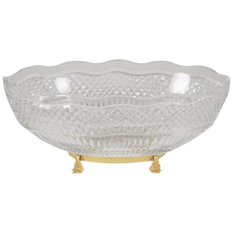 Val St. Lambert Cut Glass Centerpiece Bowl