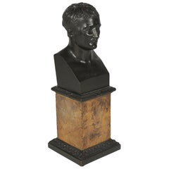 Early 1900s Bronze Bust of a Youthful Julius Cesar on a Siena Marble Base